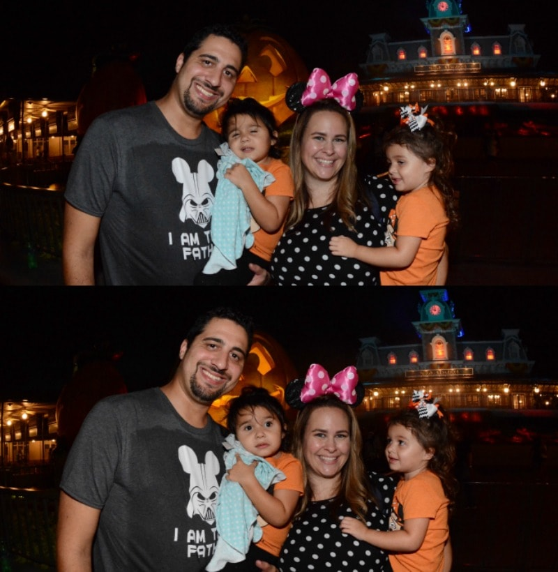 A Collage of Two Photos of Our Family in Front of the Disney Jack-O-Lantern