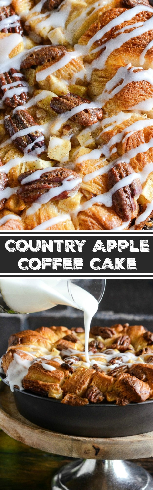 Country Apple Coffee Cake: apples, cinnamon, brown sugar, flaky biscuits and a little whiskey combine to make a gorgeous twist on your favorite coffee cake!