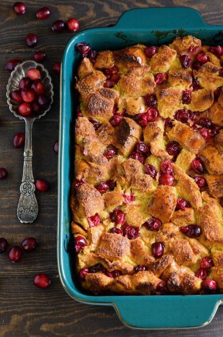 Cranberry Eggnog Bread Pudding