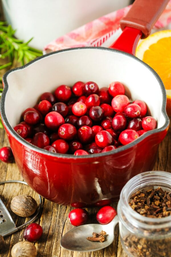 Cranberries in pot ready to be made into cranberry relish.