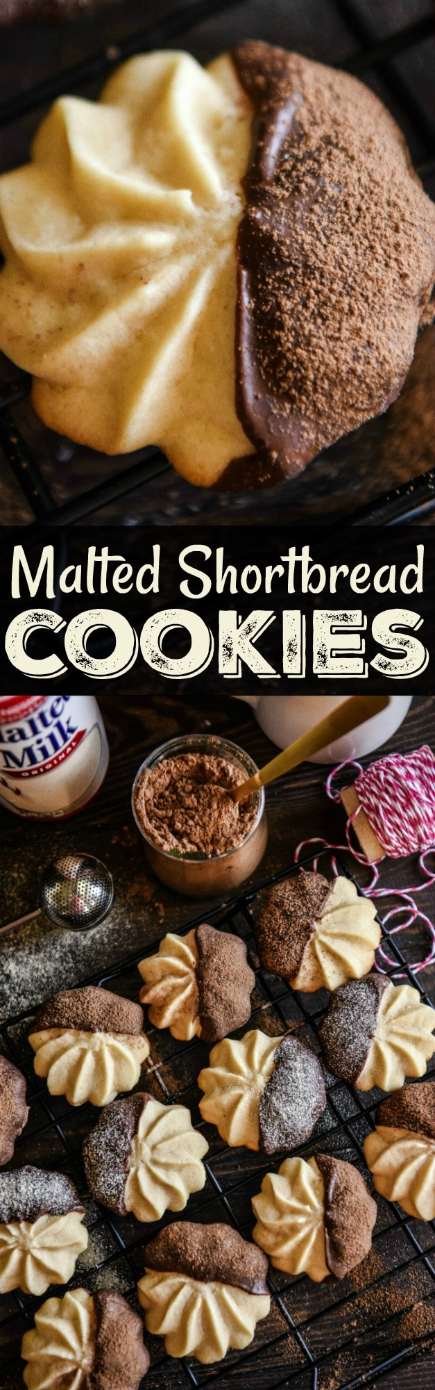A Collage of Two Different Images of Malted Shortbread Cookies