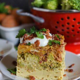 Low Carb Bacon, Broccoli and Cheese Breakfast Casserole: a low carb, veggie filled, egg casserole that is made in a slow cooker for a delicious easy breakfast!