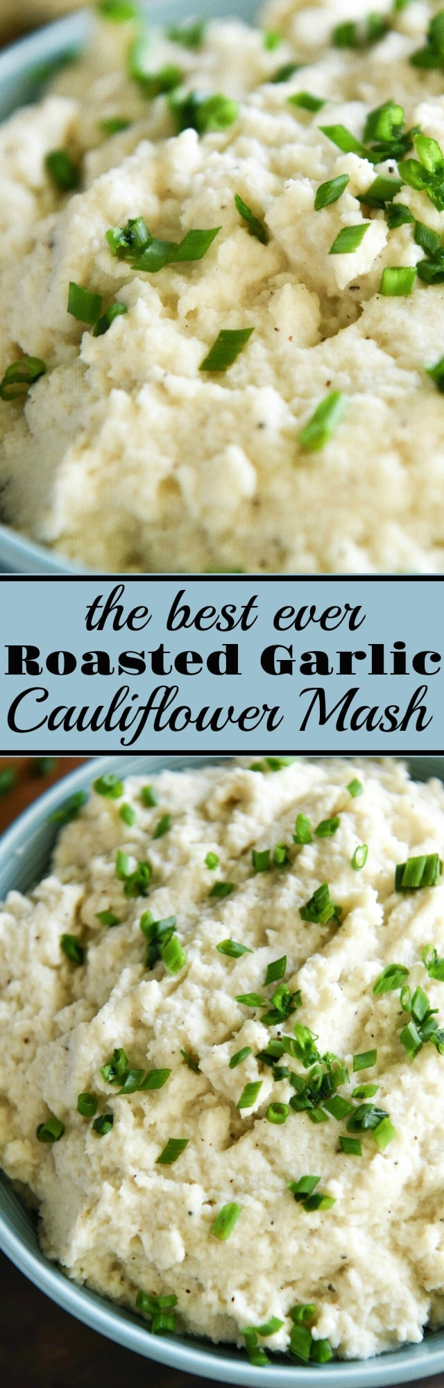 Roasted Garlic Cauliflower Mash: this is the BEST cauli mash, ever. It took me years to finally get this recipe perfect! It is full flavored, perfectly textured, with one major secret ingredient!