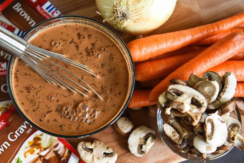 Ingredients for slow cooker pot roast recipe.
