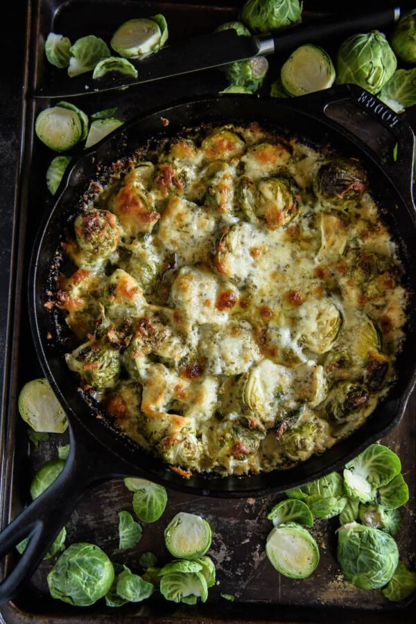 Creamy Brussels Sprouts Bake! My families favorite low carb vegetable side dish. Tons of flavor and tons of creamy cheese! #LowCarb #Keto