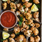 Old Bay Crispy Cauliflower Cocktail: a vegetarian twist on the classic shrimp cocktail featuring sheet pan crispy baked cauliflower!