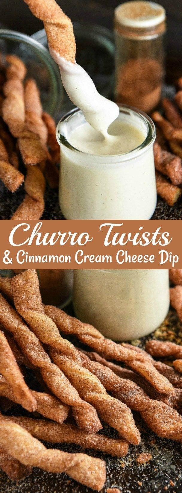 Churro Twists with a Cinnamon Cream Cheese Dip! Just 15 minutes to make! #Churro #CrescentDough #Cinnamon