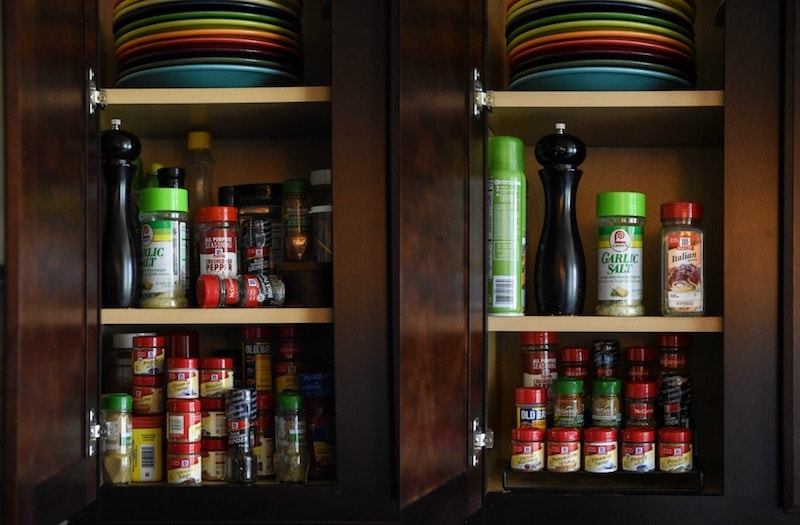 Before and After Photos of Spice Cabinet Reorganization