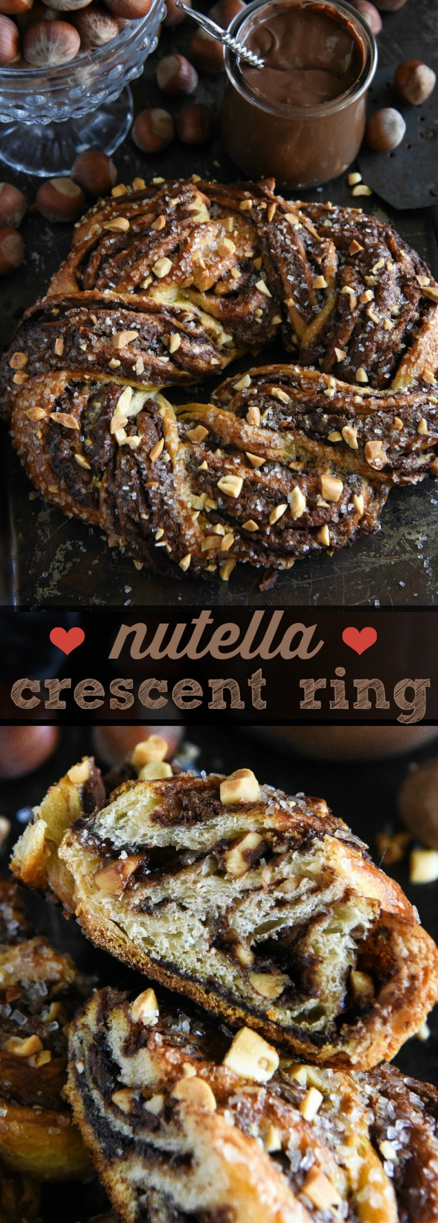 Nutella Crescent Ring: this recipe is so easy and incredibly delicious! Perfect for breakfast or dessert! #breakfast #dessert #nutella #madeathome
