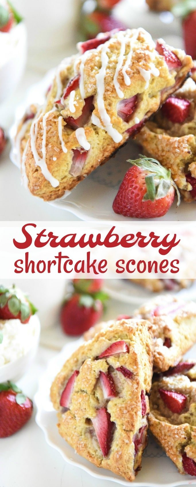 Strawberry Shortcake Scones: tender scones are stuffed with fresh strawberries, topped with vanilla cream icing and are easily made with your food processor!
