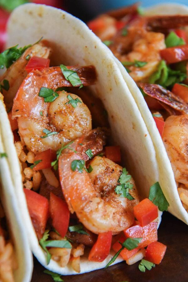 Creole Shrimp Tacos: sautéed creole shrimp and sausage stuffed jambalaya tacos! #Taco #Shrimp