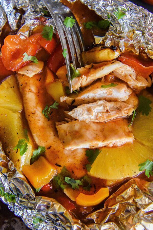 Honey Bourbon Pineapple Chicken Foil Packets The Novice Chef