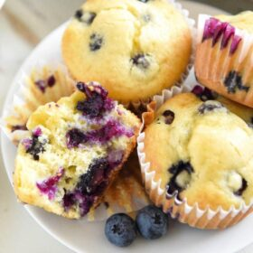 Disney's Blueberry Muffins: Enjoy these famous Blueberry Muffins, served at Walt Disney World resorts in the 1970's, with this easy, one-bowl, throwback recipe! #DisneyWorld #Disney #Muffins #Blueberries
