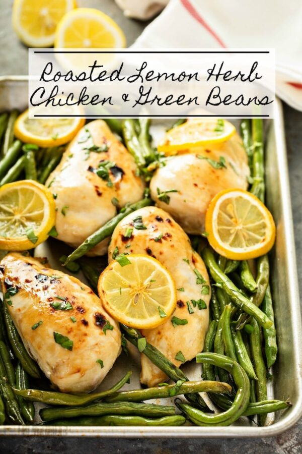 Sheet Pan Roasted Lemon Herb Chicken & Green Beans: our favorite weeknight dinner can be prepped ahead for a super easy one-pan, LOW CARB dinner or made fresh in minutes! #lowcarb #dinner #sheetpan #chicken