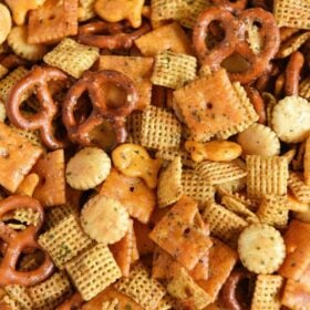 Cheesy Ranch Chex Mix: loaded with tons of flavor and cheesy crunchy goodness, this snack mix is the new ultimate tailgating party snack that will leave everyone begging for more! #ChexMix #Tailgating #SnackMix
