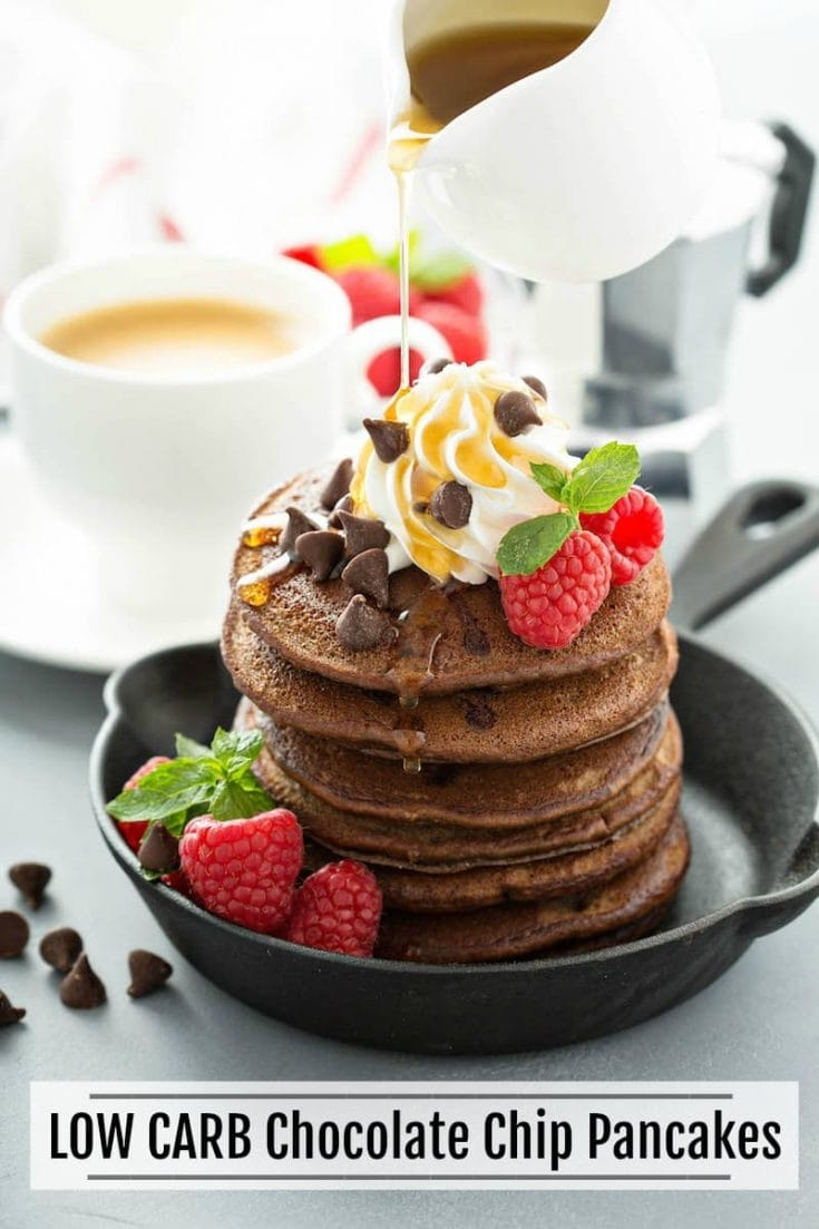 Low Carb Chocolate Chip Pancakes: these gluten free pancakes made with almond flour, cocoa powder & sugar free chocolate are only 5 net carbs & family approved! #LowCarb #LowCarbPancakes #LowCarbChocolatePancakes #Breakfast #Keto #KetoPancakes #Chocolate #Pancakes
