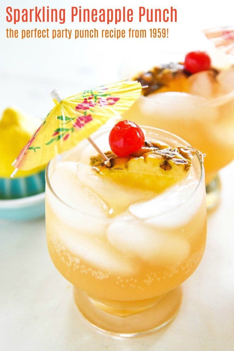 Sparkling Pineapple Punch: a refreshing 1974 throwback punch recipe that is easily made ahead and is perfect for a baby shower or a happy hour - just add vodka (or rum!) #punch #bridalshower #babyshower #happyhour #cocktail #mocktail