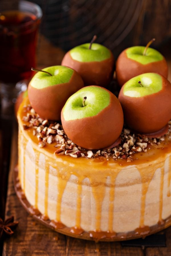 Caramel Apple Dream Cake: three big layers of super moist apple spiced cake, made completely from scratch, frosted with sweet caramel frosting! #Apple #cake #layercake #fallrecipes #dessert #caramel