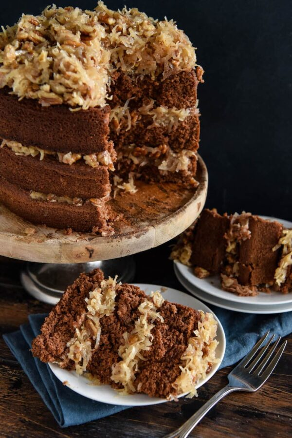 Disney's German Chocolate Cake: this famous throwback recipe, for a soft chocolate cake with coconut pecan frosting, was served at Disney World in the 1970's! #Chocolate #Cake #Disney #WaltDisneyWorld