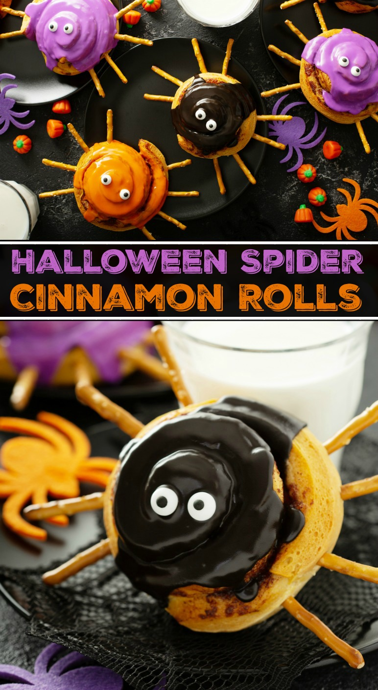 A Collage of Images of Black, Orange and Purple Halloween Spider Cinnamon Rolls