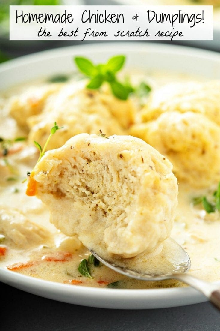 This easy recipe for my family's favorite creamy Homemade Chicken and Dumplings is loaded with big fluffy dumplings that are made from scratch in minutes! #ChickenAndDumplings #Dumplings #ComfortFood #Chicken #ChickenSoup #Soup #Dumplings #SouthernFood