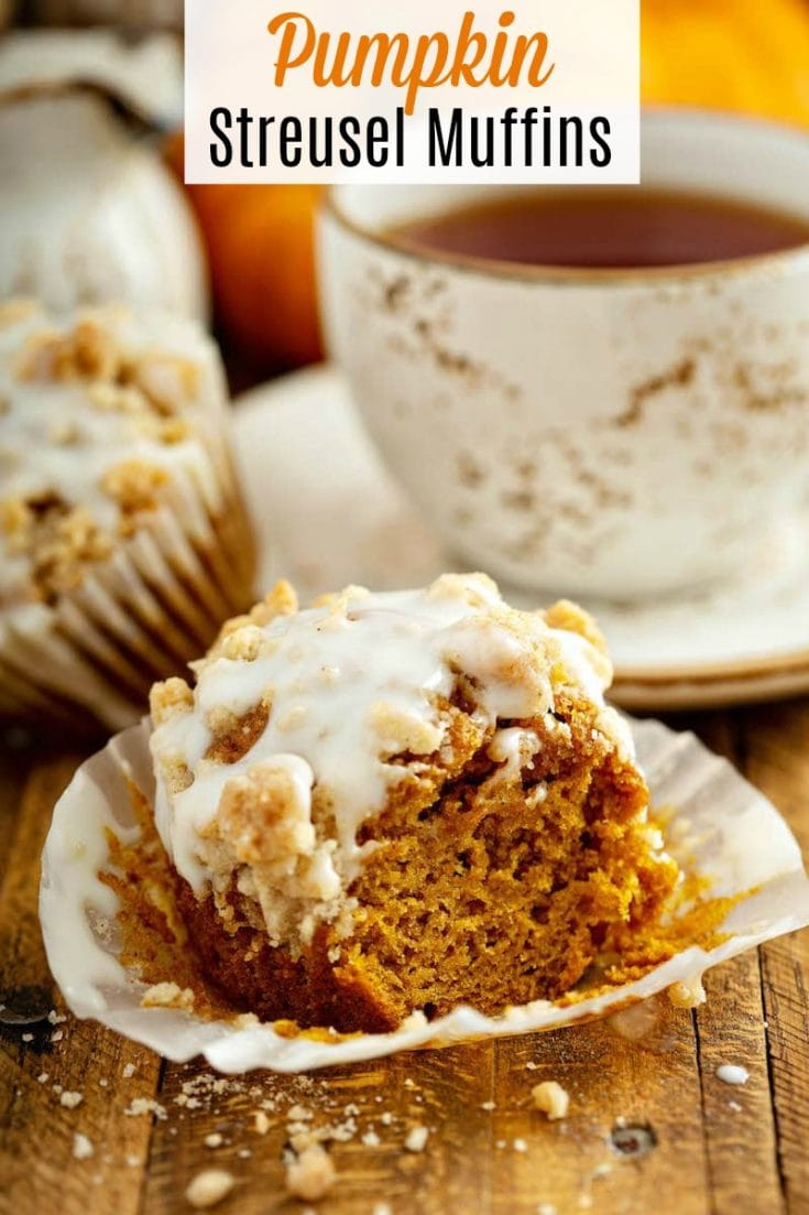 Streusel Pumpkin Muffins: these made from scratch, moist pumpkin spice muffins, are topped with a golden cinnamon streusel and drizzled with cream cheese icing! #pumpkin #muffins #fallrecipes #Pumpkinmuffins #pumpkinrecipe #streuselmuffins #pumpkinstreuselmuffins
