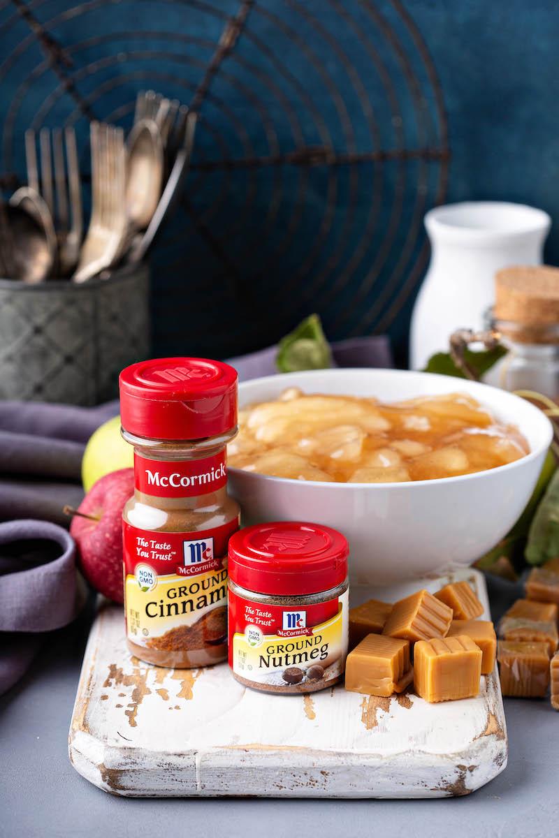 Ingredients for caramel Apple cobbler