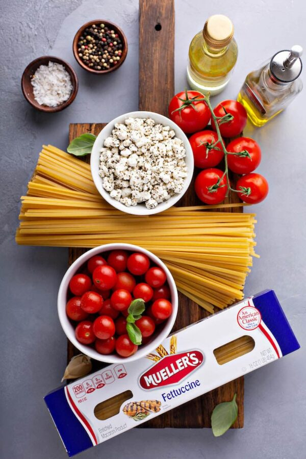 Ingredients for Pasta with Roasted Cherry Tomatoes on a platter.