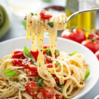 Creamy Pasta with Roasted Cherry Tomatoes Recipe
