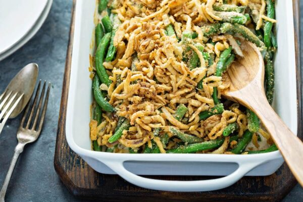 Best Green Bean Casserole Recipe in a white casserole dish.