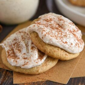 Two sweet potato cookies loaded with cinnamon cream cheese frosting.