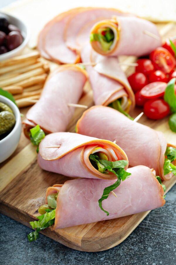 Cuban Ham Roll Ups on a platter.