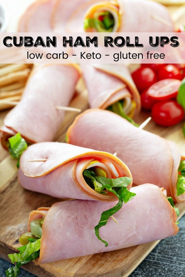 Cuban Ham Roll Ups: these low carb wraps include smoked ham, yellow mustard, dill pickles and shredded lettuce for an easy delicious make ahead lunch or snack! #CubanHamRollUps #HamRollUps #LowCarb #Keto #LowCarbRecipes #Lunch #Ham #LunchMeat #DeliMeat