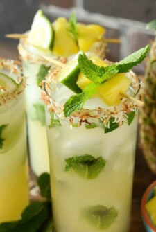 Simple Pineapple Coconut Mojitos
