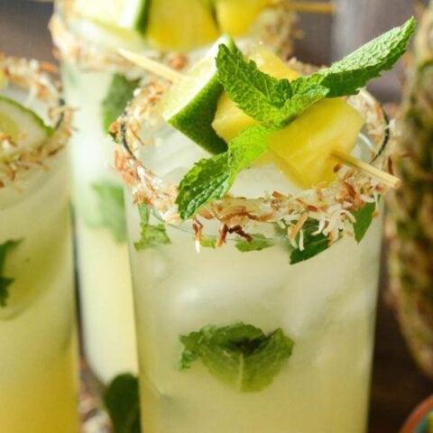 Simple Pineapple Coconut Mojitos