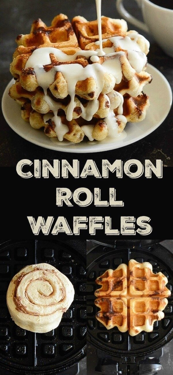 Cinnamon Roll Waffles: Try this crazy delicious waffle recipe using canned cinnamon rolls! Plus an easy recipe for an amazing maple cream cheese sauce to drizzle on top! #CinnamonRoll #Waffle #CinnamonRollWaffles #Recipe #RecipeVideo #BreakfastRecipes #BrunchRecipes #Brunch