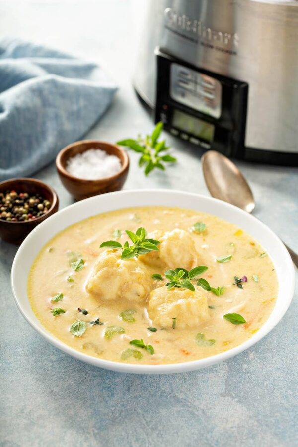 Chicken and Dumplings in a bowl in front of a crockpot