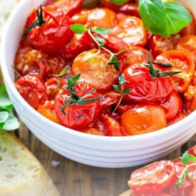 Pinterest image of garlic roasted cherry tomatoes.