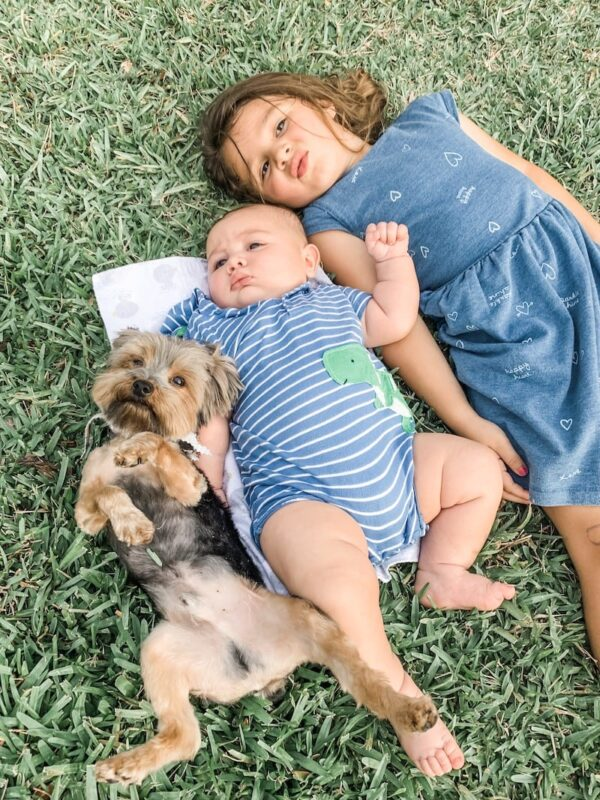 Two kids and a dog laying in grass.