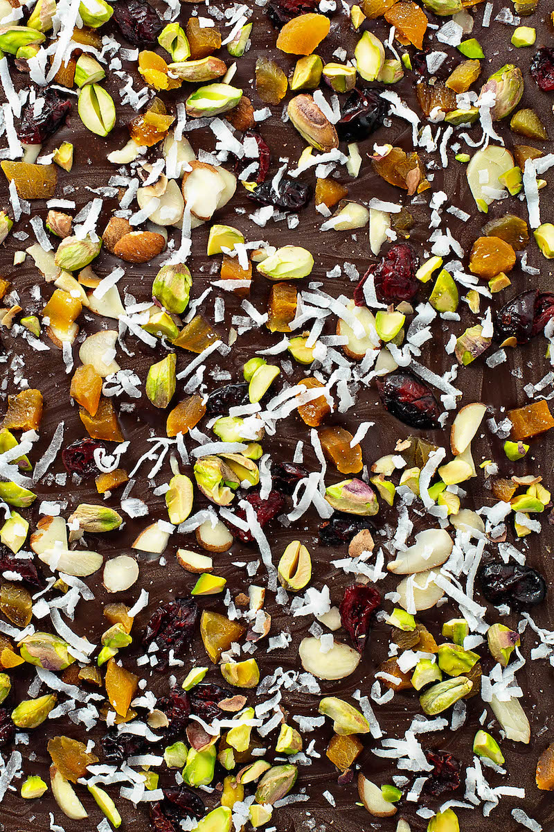 A Close-Up Shot of Fruit and Nut Bark Before it's Been Broken Into Pieces