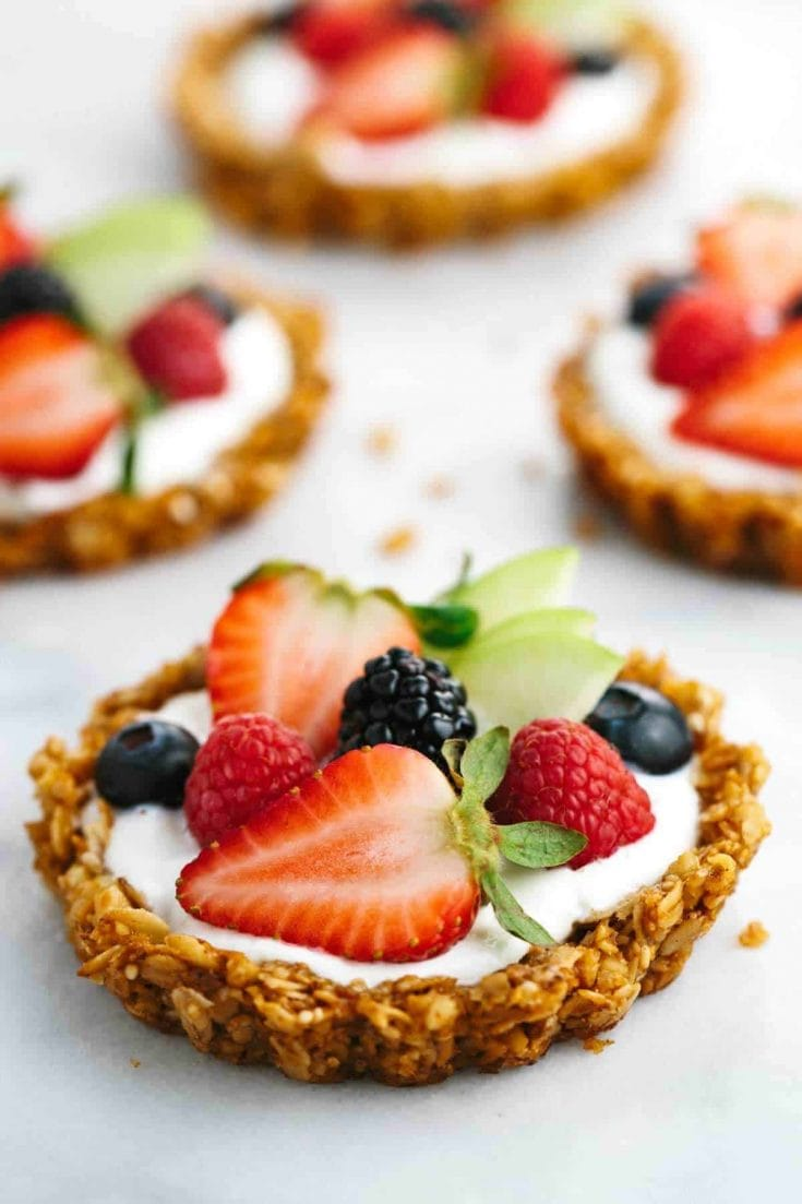 Breakfast Granola Fruit Tart with Yogurt