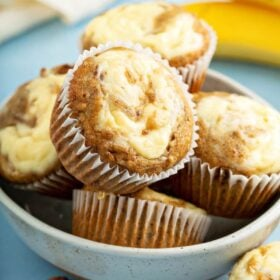 Banana Cream Cheese Muffins in a bowl.