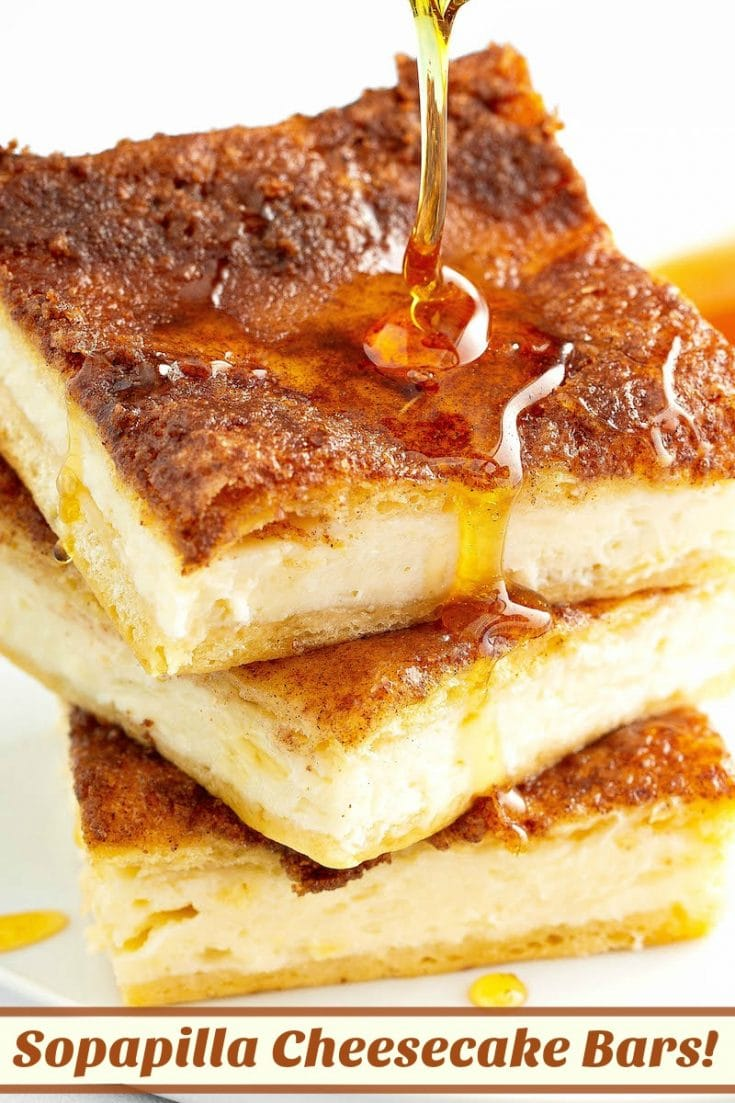 Sopapilla Cheesecake: these cinnamon cheesecake bars have a sweet cream cheese filling, crunchy cinnamon sugar topping and a generous drizzle of honey on top! #sopapillacheesecake #cheesecake #cheesecakerecipe #dessert #recipe #creamcheese #cinnamon #cinnamonsugar #honey