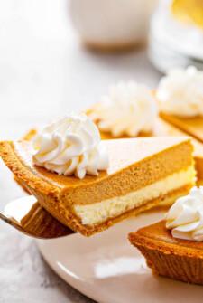 Pumpkin PIe Cheesecake slice on a sliver pie server.