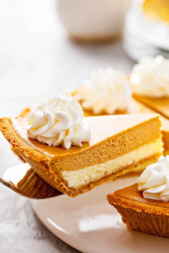Pumpkin PIe Cheesecake slice on a sliver pie server.