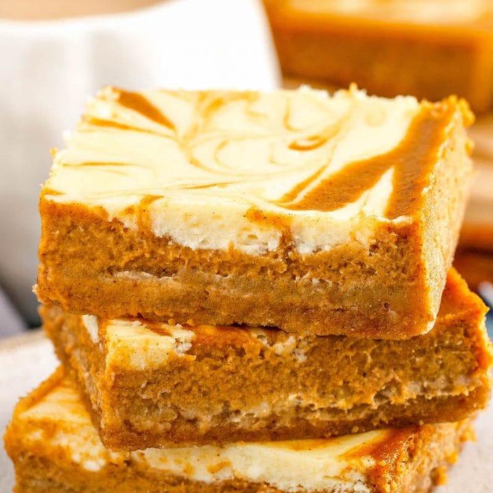 Easy Swirled Pumpkin Cheesecake Bars The Novice Chef