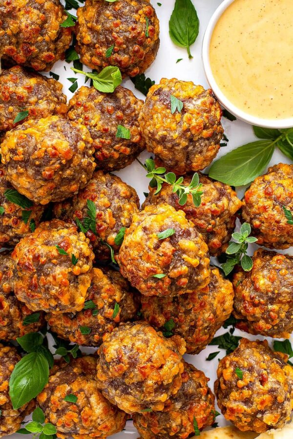Bisquick Sausage Balls on a plate.