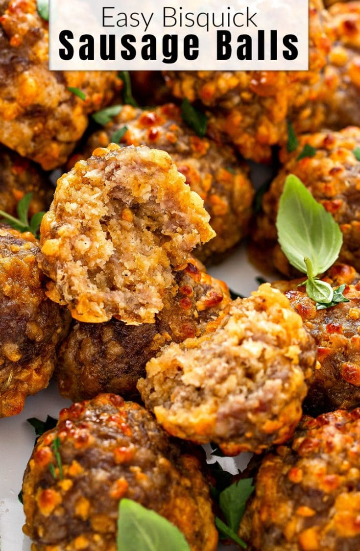 These EASY Bisquick Sausage Balls are a classic holiday appetizer that are the perfect savory party bite that your guests will not be able to stop eating! #SausageBalls #SausageBallsRecipe #BisquickSausageBalls #Holiday #Appetizer #HolidayAppetizer #Christmas #Recipe #AppetizerRecipes #ChristmasRecipes