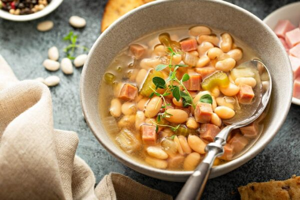 Close up image of slow cooker ham and bean soup!