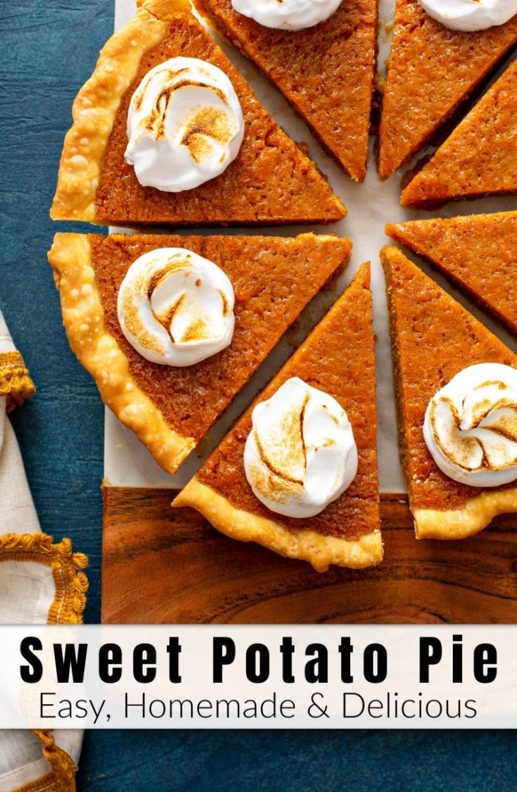 This creamy homemade Sweet Potato Pie Recipe is an ultimate Southern classic made with baked sweet potatoes, butter, milk, eggs, brown sugar, cinnamon & nutmeg! #SweetPotatoPie #SweetPotatoPieRecipe #Recipe #Pie #PieRecipes #Thanksgiving #ThanksgivingRecipes #Fall #FallRecipes #Dessert #SweetPotato
